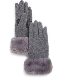 Echo Faux - Fur Cuff Tech Gloves - Grey