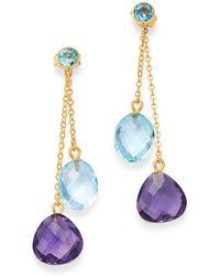 Bloomingdale's Amethyst & Blue Topaz Drop Earrings In 14k Yellow Gold - Multicolour
