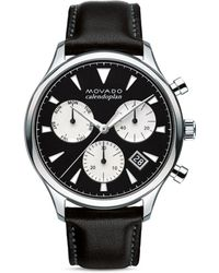 Movado 43mm Heritage Calendoplan Chronograph Watch With Black Leather Strap - Metallic