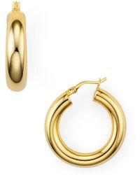 Argento Vivo Tube Hoop Earrings In Sterling Silver - Metallic