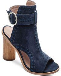 Bernardo - Women's Embroidered Suede Peep Toe Block Heel Booties - Lyst