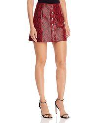 Astr Come Slither Snake Print Skirt - Red