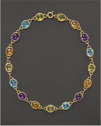 """Bloomingdale's - Amethyst, Blue Topaz, Citrine And Prasiolite Cabochon Necklace In 14k Yellow Gold, 16"""" - Lyst"""