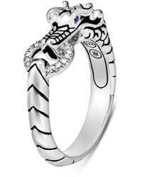 John Hardy Legends Naga Sterling Silver, Diamond Pavé & Blue Sapphire Dragon Head Ring - Metallic
