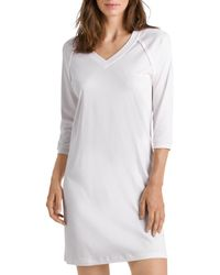 Hanro Pure Essence Raglan Three - Quarter Sleeve Cotton Short Gown - White