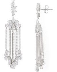 Nadri Loa Faceted Stone Chandelier Earrings - Metallic