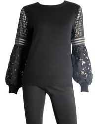 Sioni Lace Sleeve Jumper - Black