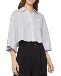 BCBGMAXAZRIA Cotton Pinstriped Cropped Shirt - White