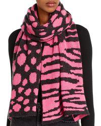 Aqua Mixed Animal Print Cashmere Scarf - Pink