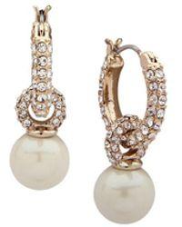 Ralph Lauren - Lauren Pavé & Simulated Pearl Hoop Earrings - Lyst