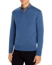 Brooks Brothers Merino Wool V - Neck Sweater - Blue
