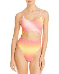 Aqua Swim Ombré Cutout One Piece Swimsuit - Multicolour