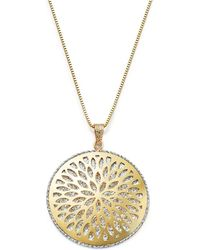 """Bloomingdale's - 14k White And Yellow Gold Flower Burst Pendant Necklace, 24"""" - Lyst"""