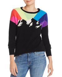 Aqua Cashmere Rainbow Mountain Cashmere Sweater - Black