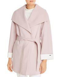 T Tahari Riley Crepe Draped Coat - Pink