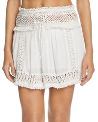 3712591ec Indah Zuberi Crochet Mini Skirt in White - Lyst