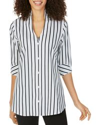 Foxcroft Cena Striped Non - Iron Tunic Top - Black