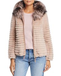 Maximilian - Hooded Beaver Fur Jacket With Fox & Mink Fur Trim - Lyst