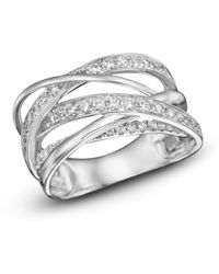 Bloomingdale's - Diamond Multirow Crossover Ring In 14k White Gold, 1.15 Ct. T.w. - Lyst