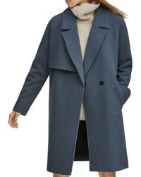 Andrew Marc - Sculpted Twill Notched Collar Coat - Lyst