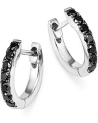Bloomingdale's Black Diamond Huggie Hoop Earrings In 14k White Gold - Multicolour