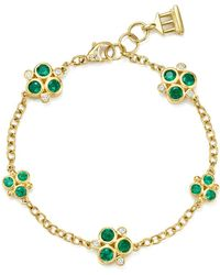 Temple St. Clair - 18k Yellow Gold Emerald Trio And Diamond Bracelet - Lyst