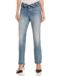 T By Alexander Wang Cult Flip Straight Jeans In Vintage Mid Indigo - Blue