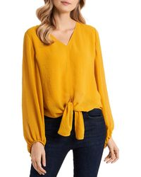 Vince Camuto Tie Front Top - Yellow