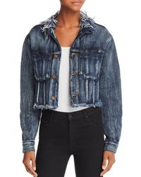 True Religion - Cropped Denim Jacket In Posh Indigo - Lyst