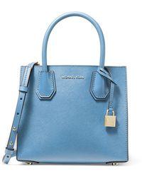 MICHAEL Michael Kors Mercer Medium Leather Messenger Bag - Blue