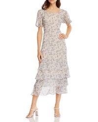 Aqua Vintage Floral Print Maxi Dress - White