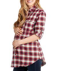 Nom Maternity Sadie Printed Cotton Shirt - Red