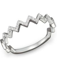 Bloomingdale's - Diamond Zigzag Ring In 14k White Gold - Lyst