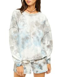 Free People Kelly Washed Tie Dyed Sweatshirt & Shorts - Multicolor