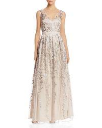 Eliza J Embellished Tulle Overlay V - Neck Gown - Multicolour