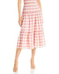 Aqua Gingham Print Midi Skirt - Pink