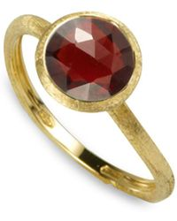 Marco Bicego - 18k Yellow Gold Engraved Jaipur Stackable Ring With Garnet - Lyst