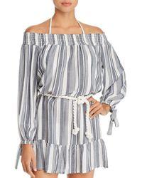 Surf Gypsy Off - The - Shoulder Stripe Dress Swim Cover - Up - Blue
