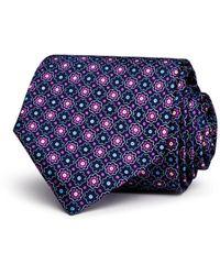 Bloomingdale's The Men's Store Floral Medallion Classic Necktie - Blue