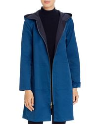 Eileen Fisher Reversible Hooded Jacket - Blue