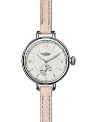 Shinola The Birdy Double Wrap Pink Leather Strap Watch - Multicolour