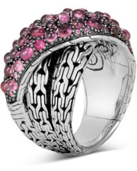 John Hardy - Sterling Silver Classic Chain Crossover Ring With Pink Spinel, Pink Tourmaline & Pink Garnet - Lyst