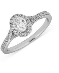 Bloomingdale's Oval Diamond Halo Engagement Ring In 14k White Gold