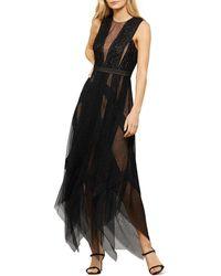 BCBGMAXAZRIA Andi Lace Trim Evening Dress - Black