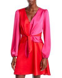 MILLY Stella Satin Colour Blocked Dress - Pink