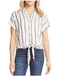 Karen Kane - Tie-front Striped Shirt - Lyst