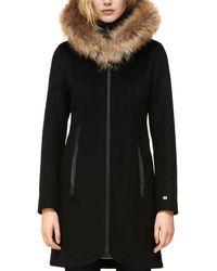 SOIA & KYO Fur Trim Coat - Black
