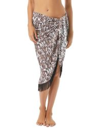 Vince Camuto Fringed Pareo Swim Cover - Up - Black