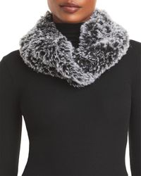 Surell Faux Fur Stretch Knit Infinity Loop Scarf - Black