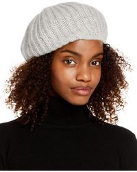 C By Bloomingdale's Rib - Knit Cashmere Beret - Multicolour